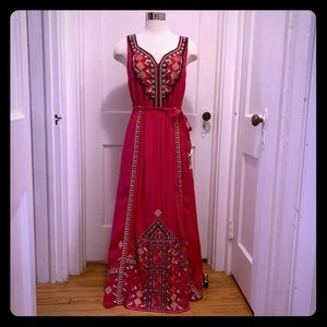 Anthropologie Gold Embroidered Maxi Dress